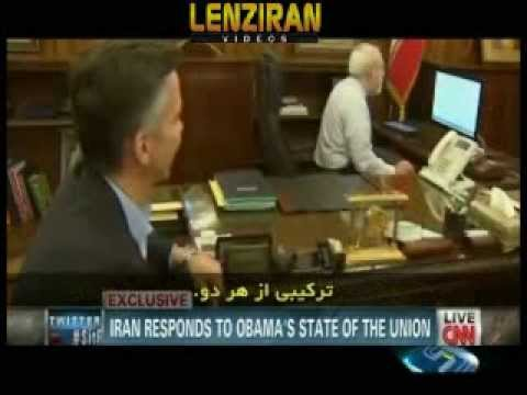 Javad Zarif listening to Barack Obama speech and report of Iranian TV