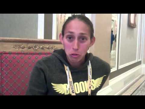 Desi Davila talks after running 2:23:54 at 2014 Boston Marathon