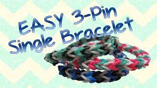 EASY Three-Pin Single [TriSingle] Rainbow Loom Bracelet