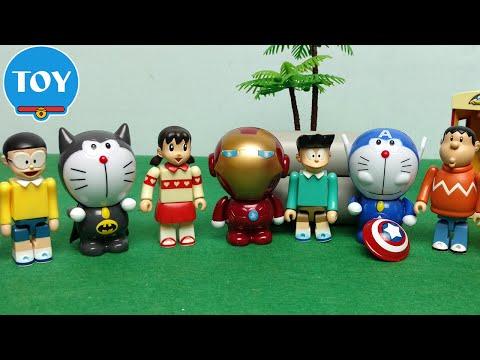 Biệt đội siêu anh hùng mèo máy Doraemon The Avengers Marvel - hoạt hình doremon chế đồ chơi trẻ em