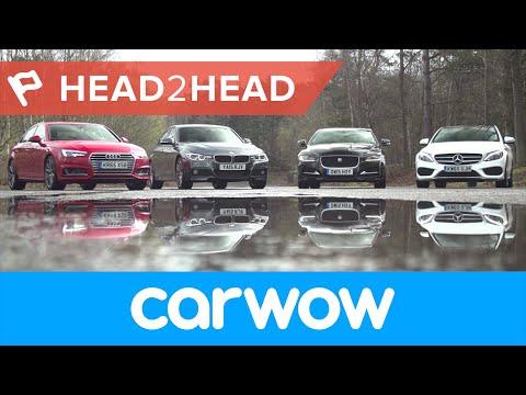 Audi A4 vs Mercedes C-Class vs BMW 3 Series vs Jaguar XE Saloons 2017 review | Head2Head