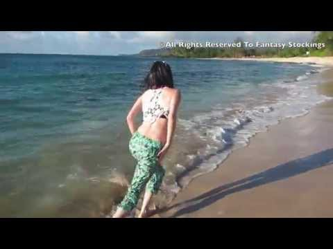 Jessica in Hawaii - wetlook on the beach - swimming with clothes on
