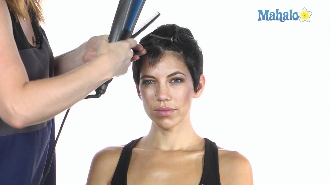 how to use a flat iron on short hair videos