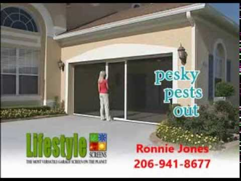Lifestyle retractable garage screen door youtube for Roll down garage door screen