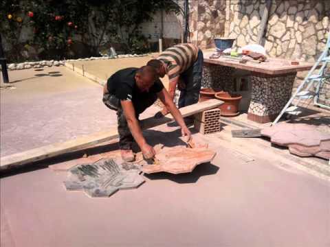 Cemento stampato 3385789554 0681107380 30 00 al mq youtube - Posa pavimenti esterni in porfido costo al mq ...