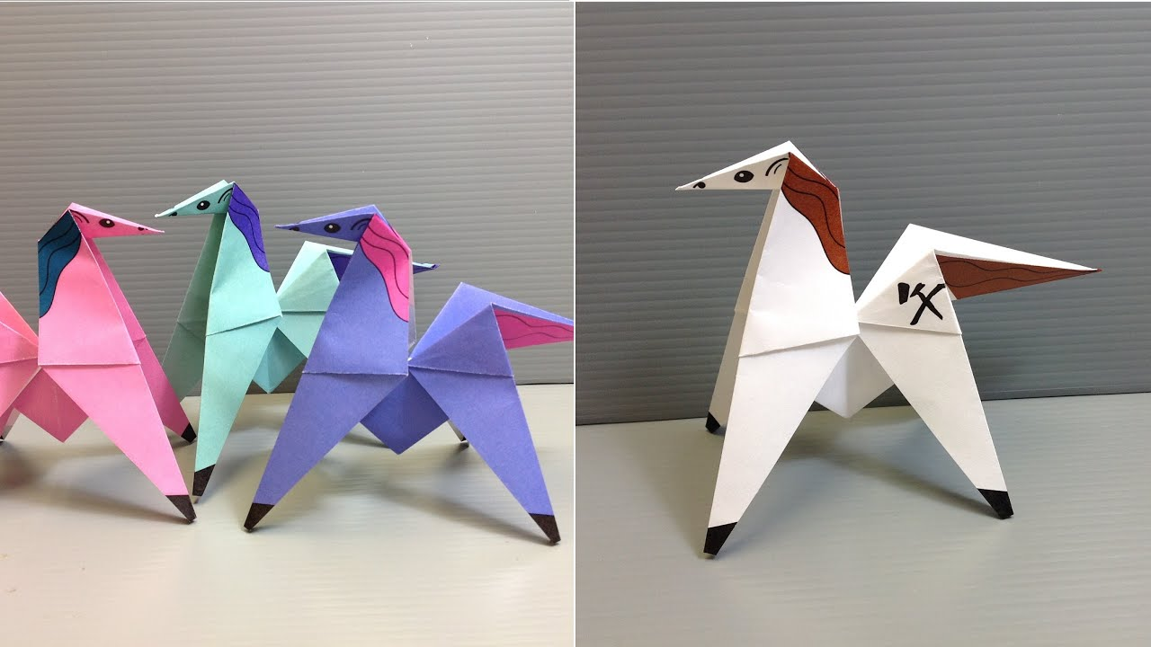 Make your own action origami colorful pony that flips for Cool things made out of horseshoes
