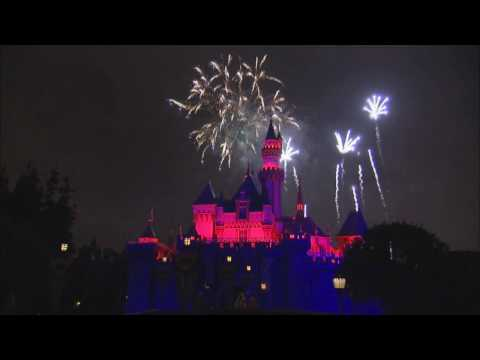 Scenes from Disneyland's Summer Nightastic Magical fireworks show with Dumbo