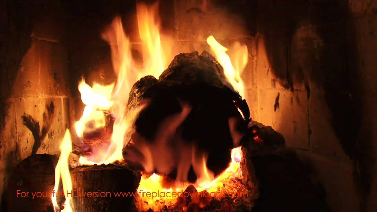 Virtual HD Fireplace video 1080p (Large Log fire ...