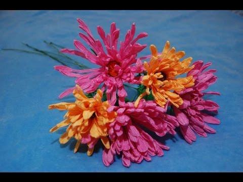 Хризантема своими руками из лент