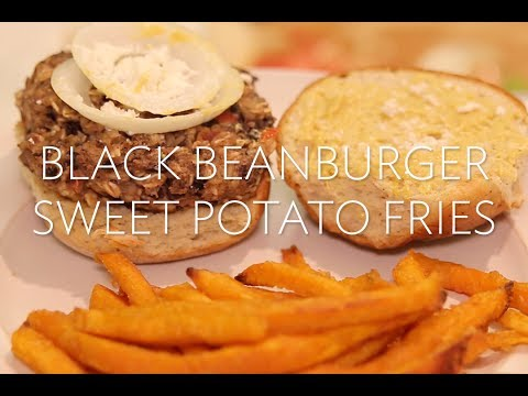 Gluten Free Black Bean Burger and Sweet Potato Fries | Broke But Bougie