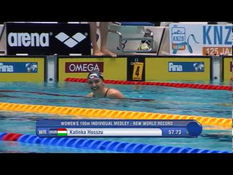 World Record Katinka Hosszu - Fina Swimming World Cup Eindhoven 2013 - 100m IM women - heat 2