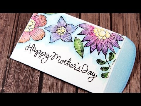 Mother's Day Gift Card Envelope - Color Wednesday #41 (Inktense Pencils w/ Dove Blender Pen & Water)