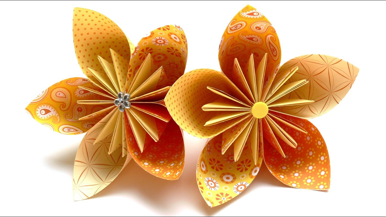 Origami Blumen falten - #03 Fleurogami Blüte - YouTube