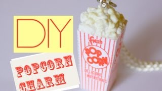 Popcorn Box Charm Polymer Clay Miniature Food Jewelry