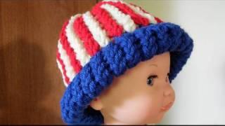 Vertical Striped Loom Knit Hats