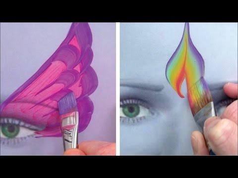 5 Kinderschminken Pinsel für coole Striche und Effekte / Kinderschminken lernen TEIL 4