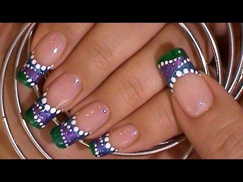 Purple Green Blue Dotted Nail Design Nail Designs Video