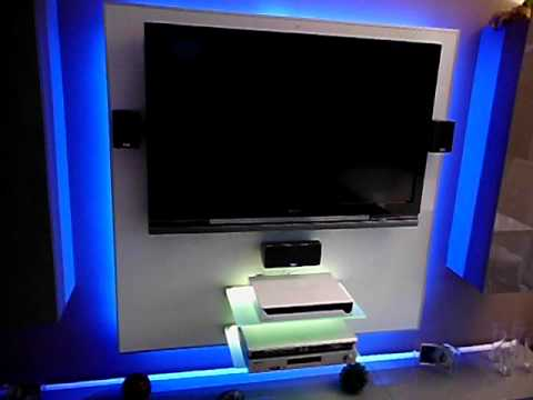 tv wand mit rgb led beleuchtung youtube. Black Bedroom Furniture Sets. Home Design Ideas