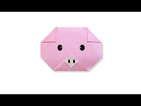 Hướng dẫn cách gấp giấy con lợn dễ thương - Xếp hình Origami - How to make a pig's face  - tutorial