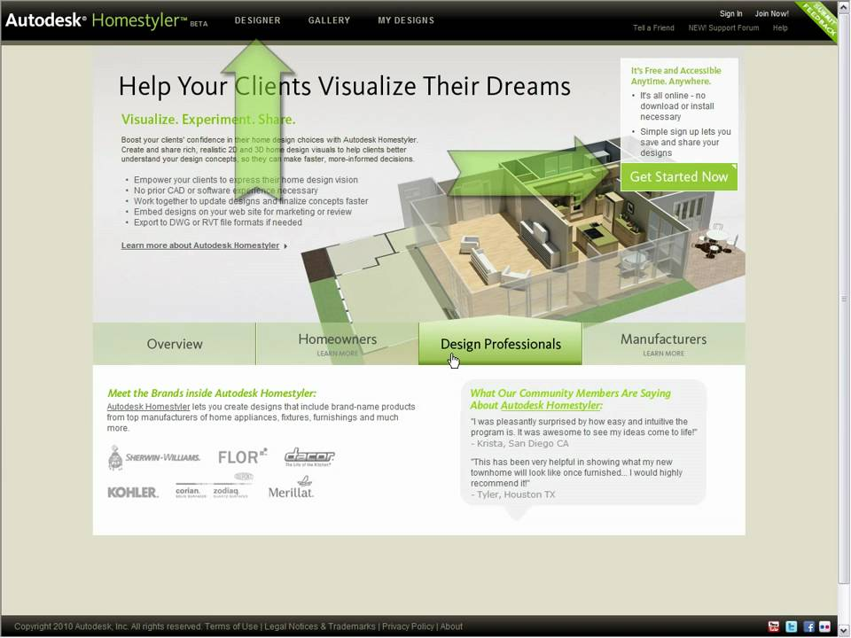 Introducing autodesk homestyler 2010 youtube for Homestyler login