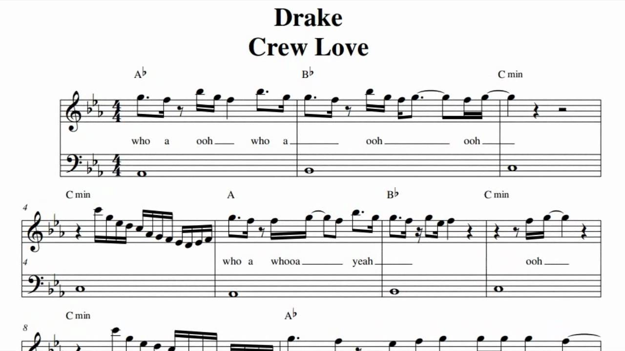 Drake piano chords music sheets chords tablature and song drake crew love music sheet youtube hexwebz Images