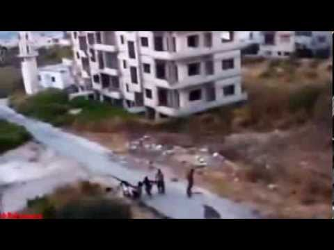 Syria AirStrike Direct Hit to FSA Anti Aircraft Team Position Everyone Dead