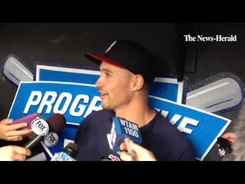 Former Indians outfielder Grady Sizemore, now with Boston, talks about his return to Cleveland.