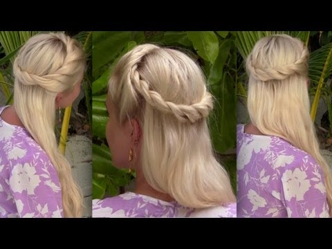 Bohemian half up half down hairstyle for medium to long hair tutorial