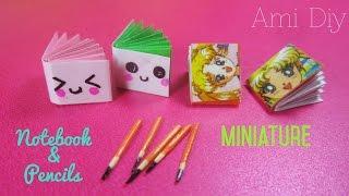 Back to school,DIY Miniature Cute Notebook & Pencils| Cách làm quyển vở và bút chì thu nhỏ dễ thương