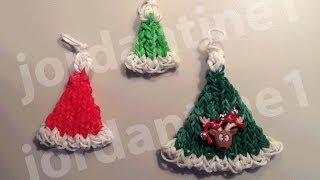 How To Make A Rainbow Loom Christmas Santa Hat Charm Part 2