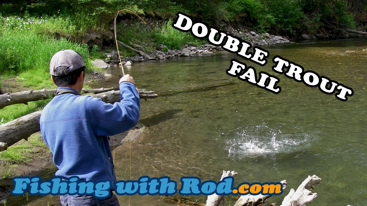 Fishing with rod double trout fail youtube for Youtube fishing video