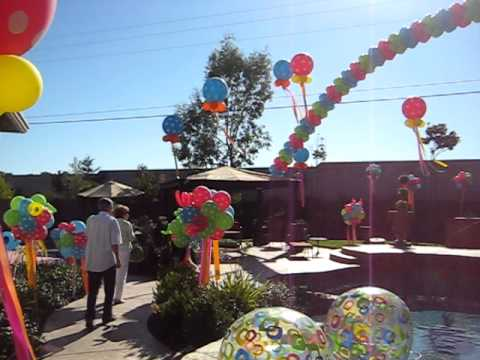 Outdoor pool party balloon decorations youtube for Garden pool party