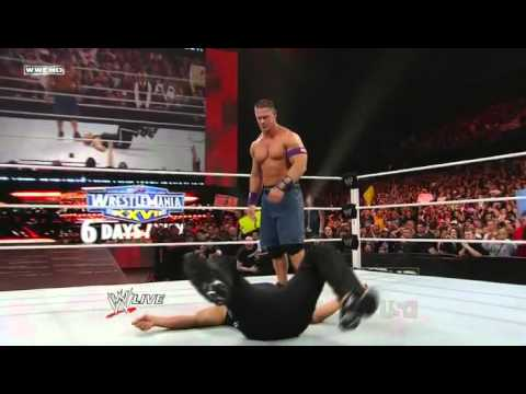John Cena's Attitude Adjustment on The Rock in RAW