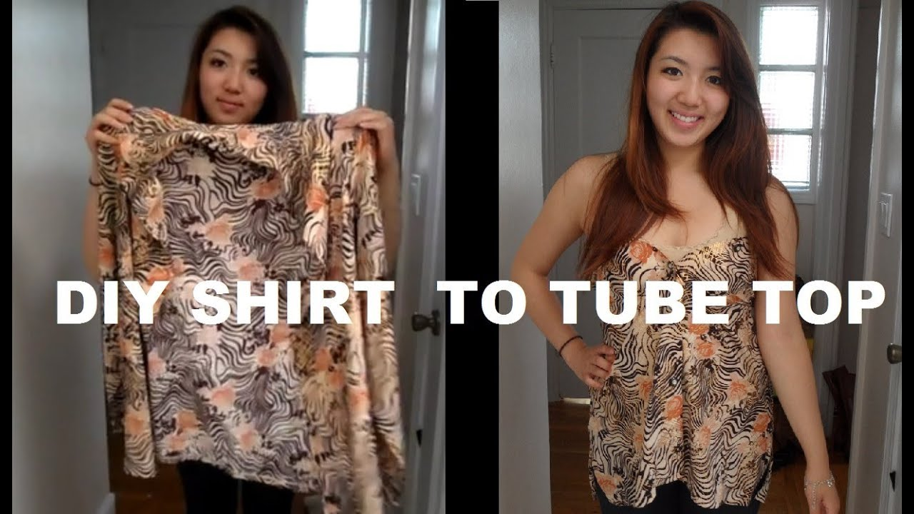 diy long sleeve shirts into tube top no sewing youtube. Black Bedroom Furniture Sets. Home Design Ideas