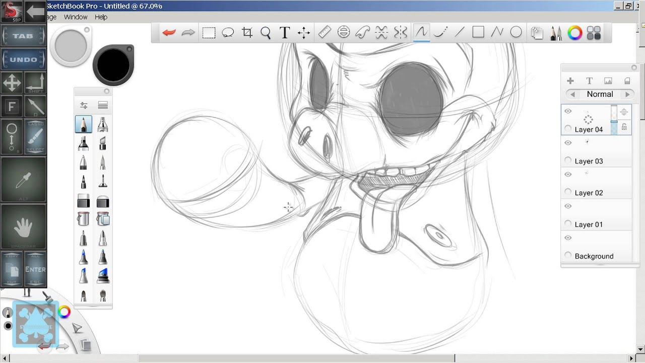 speed art hell pig sketch in sketchbook pro on a samsung