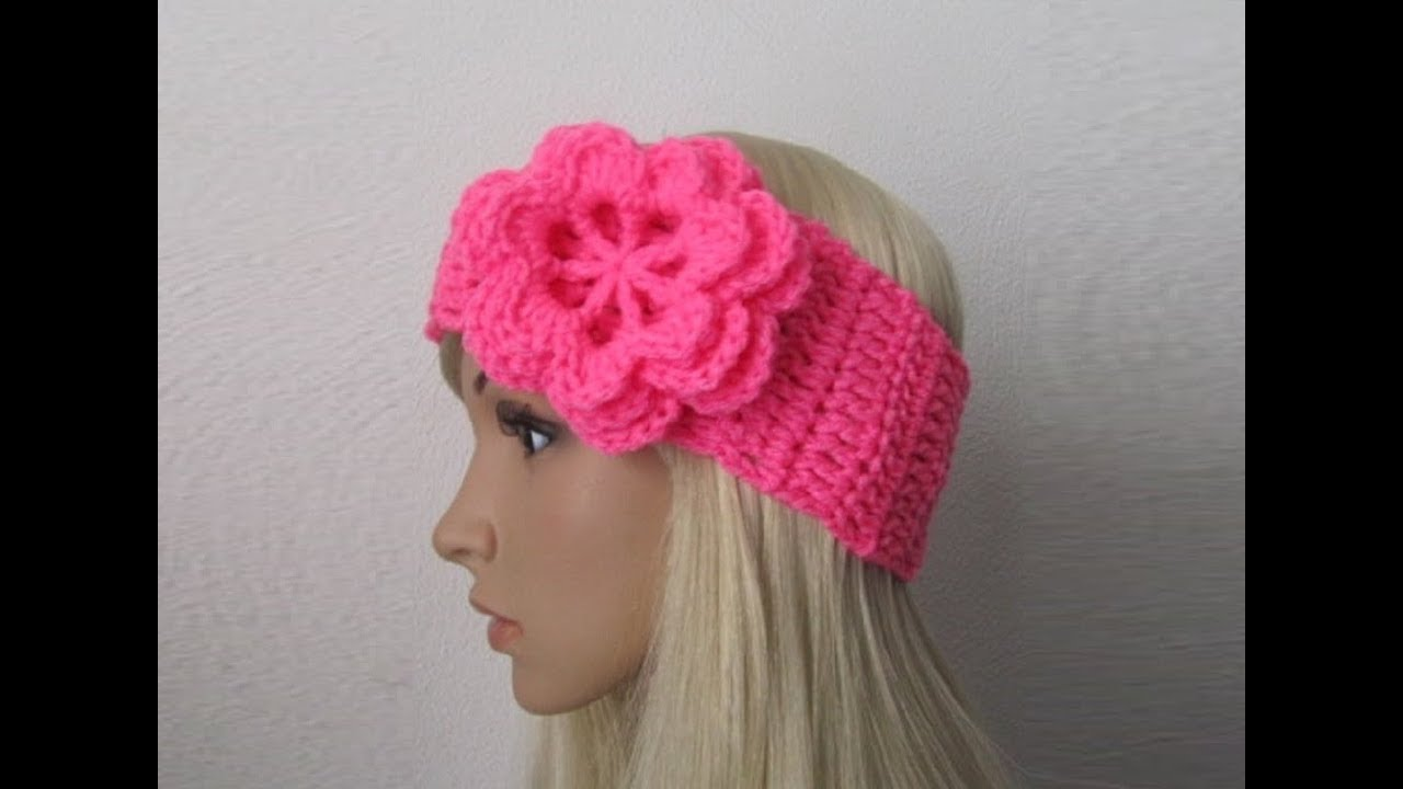 How to Crochet Earwarmer/Headband with a Flower Pattern #3?by ...