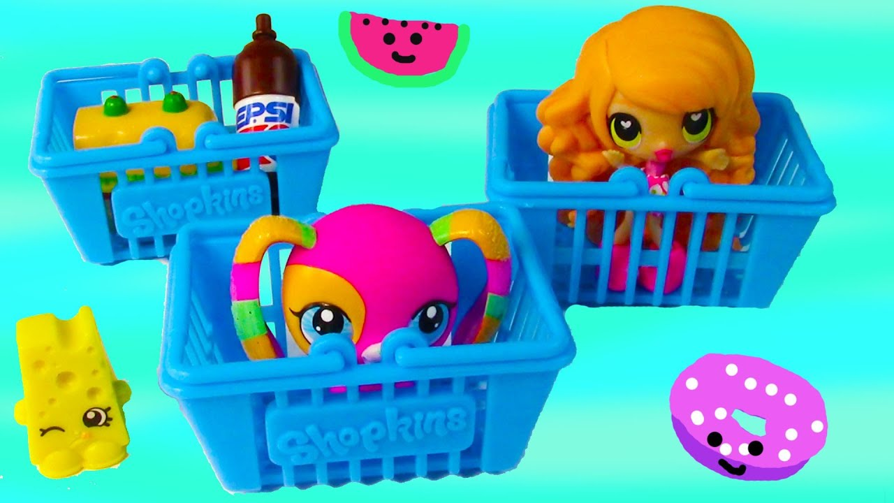 Shopkins blind bags mystery surprise kawaii food shopping basket