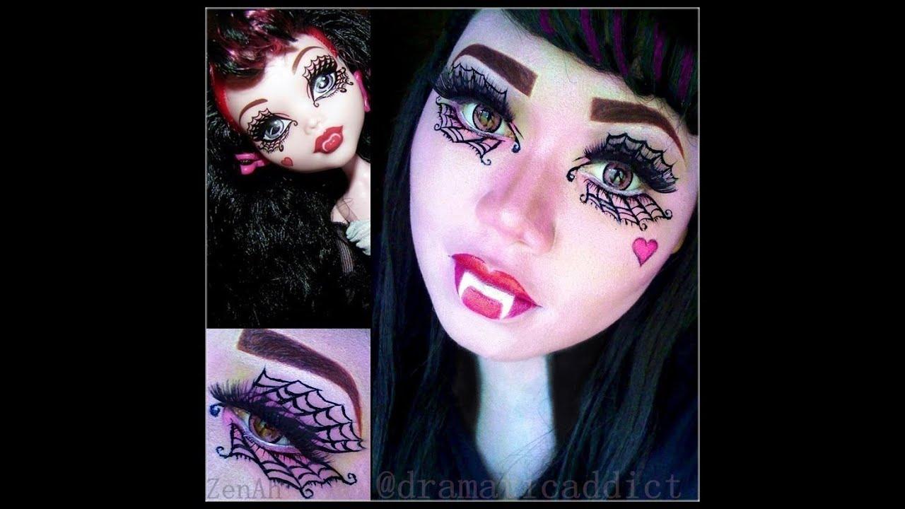 Monster High Doll Draculaura Makeup Tutorial  YouTube - Make Up Fr Halloween