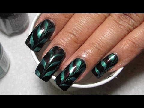 Aubergine Turquoise Water Marble Nail Art Tutorial Water Marble