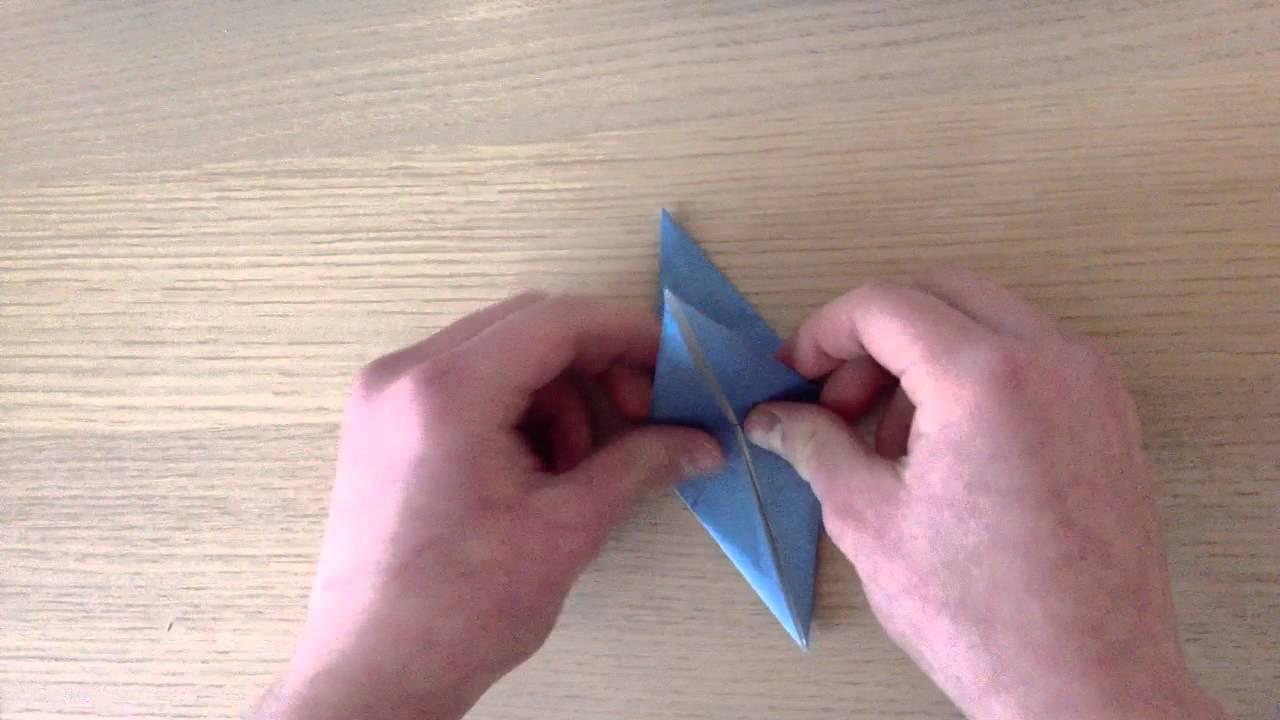 Faire une toile en papier r aliser une toile 4 branches en origami youtube - Faire une etoile en papier ...