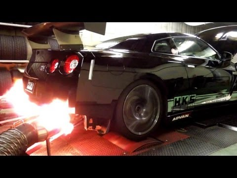 HKS R35 GT-R Racing Muffler DYNO TEST with GT1000 TURBINE KIT