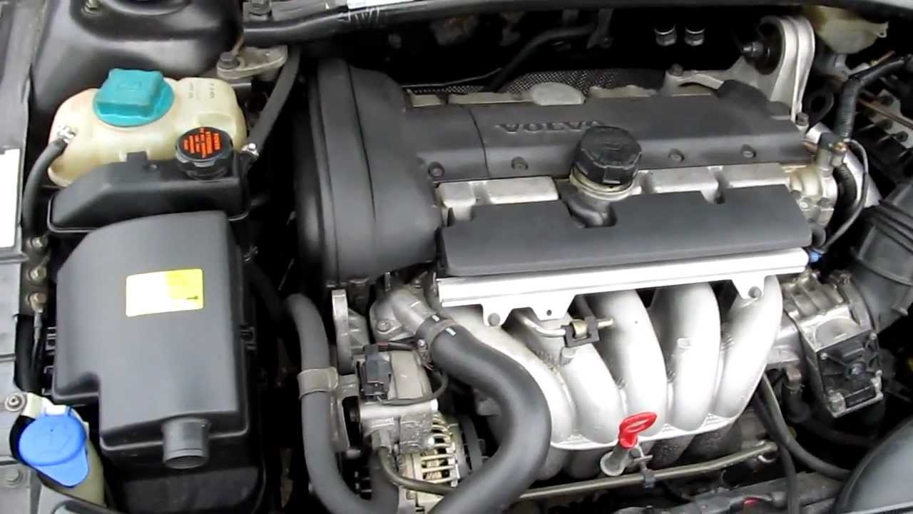Volvo V70 2001 B5244s2 5-cylinder Engine Under The Hood Running Idle