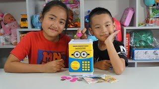 Bé chơi két đựng tiền thông minh - đồ chơi máy rút tiền ATM Mini Minion - Piggy Bank For Kids