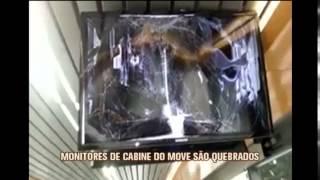 Monitores de cabine do Move s�o quebrados por v�ndalos na Cristiano Machado