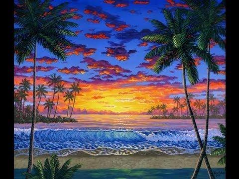 Cara melukis matahari terbenam di pantai tropis menggunakan akrilik di atas kanvas