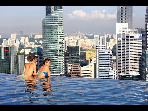 Marina Bay Sands, Singapore - sunset & night view at the Infinity pool (music video HD)