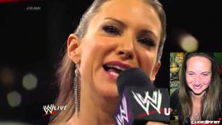 WWE Raw 7/28/14 Stephanie McMahon vs Brie Bella at SUMMERSLAM