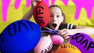 Making Slime With Balloons! Slime Balloon Tutorial (Haschak Sisters)