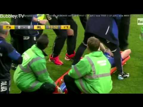 Riccardo Montolivo Crying on the bench after HORROR injury   Italy vs Ireland 31 05 2014