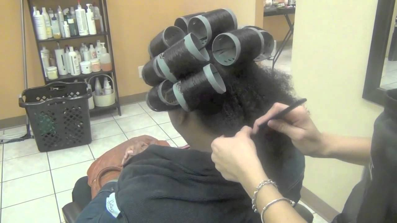Roller Set On Natural Hair And Dominican Blow Out Lucys